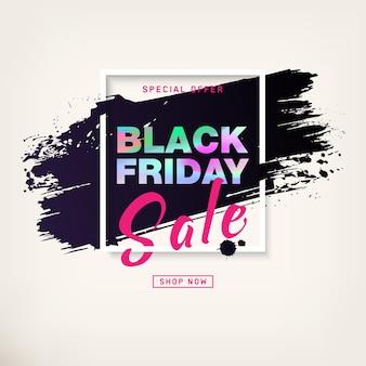 Manifesto di vendita del black friday con testo argentato