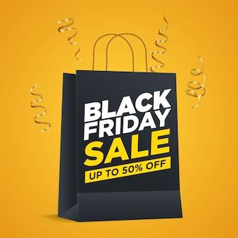 Promozione di vendita del black friday con borsa della spesa