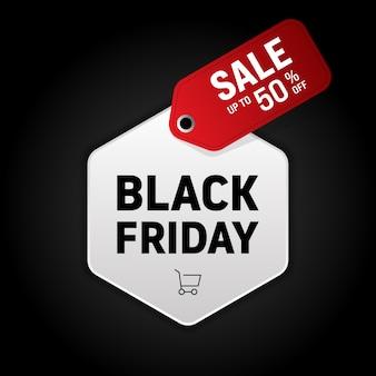 Banner di promozione vendita venerdì nero e sconto offerta speciale.