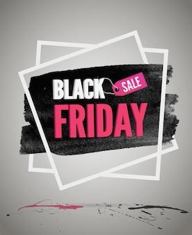 Illustrazione vettoriale di promozione vendita black friday con tipografia. testo dell'annuncio di sconto commerciale nel telaio. annuncio di offerte speciali del negozio. testo sulla trama della macchia di inchiostro nero