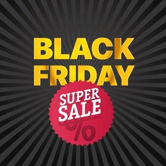 Logo rosso di vendita del black friday super banner di vettore di vendita di novembre