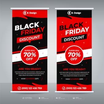 Vendita del black friday roll up banner offerta promozione modello
