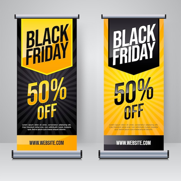 Modello di banner roll up o x di vendita del black friday