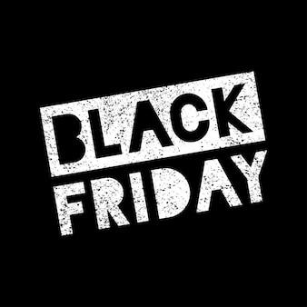 Venerdì nero vendita scribble grunge timbro bianco su sfondo nero, vecto