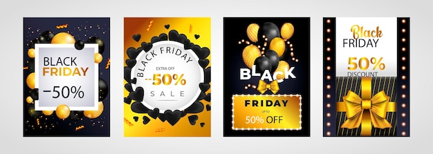Black friday sale set di poster o volantini con palloncini e coriandoli