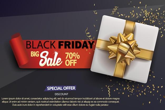 Sfondo del negozio di vendita del black friday con scatola regalo bianca, fiocco dorato e coriandoli dorati, poster di vendita, modello di banner sconto realistico di colore nero. vettore