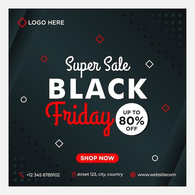 Modello di banner di social media di vendita del black friday con stile sfumato di sfondo nero