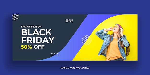 Modello di copertina di facebook per social media di vendita venerdì nero