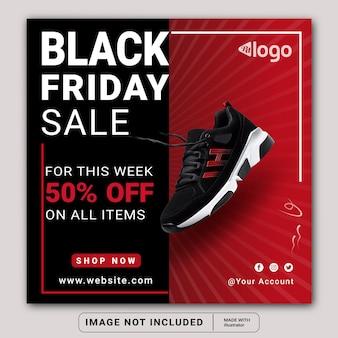 Black friday vendita social media instagram post banner modello o volantino quadrato