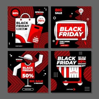 Offerta speciale di vendita del black friday / sconto su instagram post