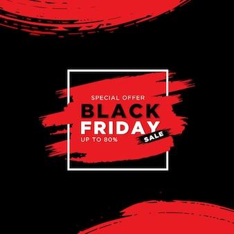 Offerta speciale di vendita venerdì nero con pennello rosso e rettangolo