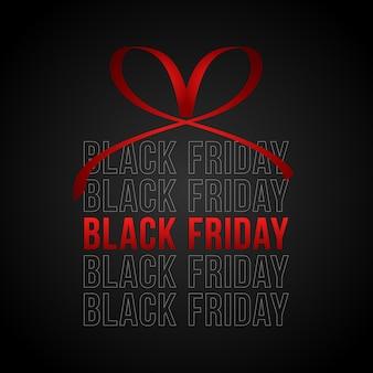 Vendita del black friday, banner quadrato a forma di regalo di natale con nastro rosso e fiocco.