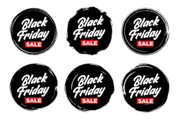 Set di adesivi vendita venerdì nero con cool grunge