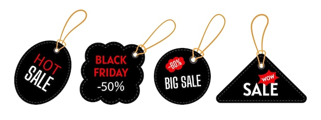 Insieme di modelli di tag di vendita del black friday. forme triangolari e rotonde. grande vendita, offerta speciale.