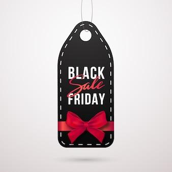 Etichetta di vendita venerdì nero con corda.
