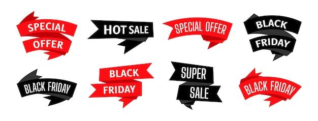 Insieme di modelli di nastro di vendita del black friday
