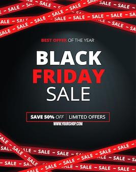 Tema nero del modello di vendita del venerdì nero con luce della lampada