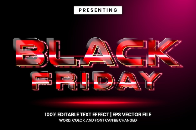 Effetto di testo in vendita venerdì nero con stile lucido