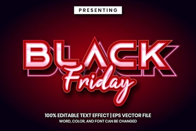 Effetto di testo in vendita venerdì nero con stile neon