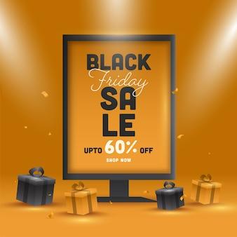 Testo di vendita del black friday con offerta di sconto del 60% su billboard