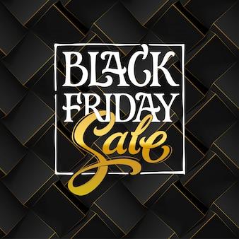 Tipografia di vendita del black friday su sfondo scuro. modello senza cuciture geometrico nero con cubi di volume. modello per banner promozionale. illustrazione con lettere disegnate a mano.