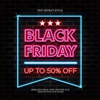 Vendita del black friday fino al 50% di banner con effetti di testo al neon