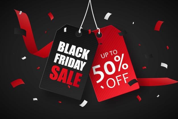 Saldi del black friday fino al 50% di sconto. cartellini dei prezzi rossi e neri. tag di vendita.
