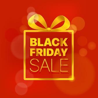 Concetto di vettore di vendita del black friday logo dorato su rosso