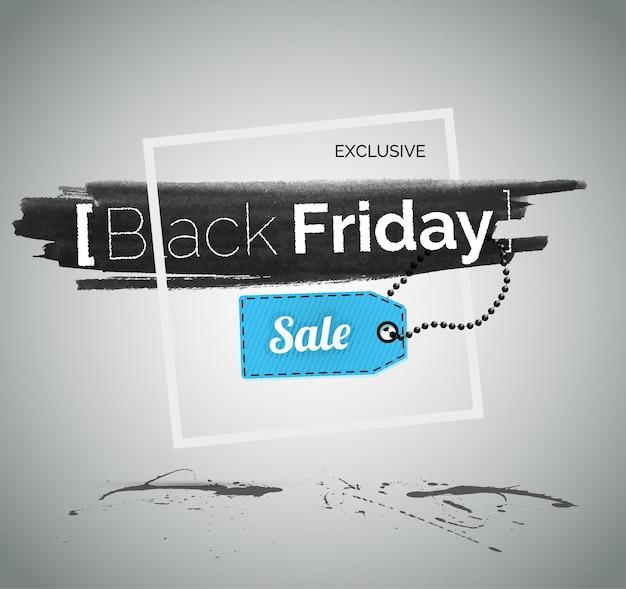Illustrazione vettoriale di vendita venerdì nero con tipografia. modello dell'insegna dell'annuncio pubblicitario di sconto di acquisto. promozione delle offerte speciali del negozio. testo sulla trama della macchia di inchiostro nero