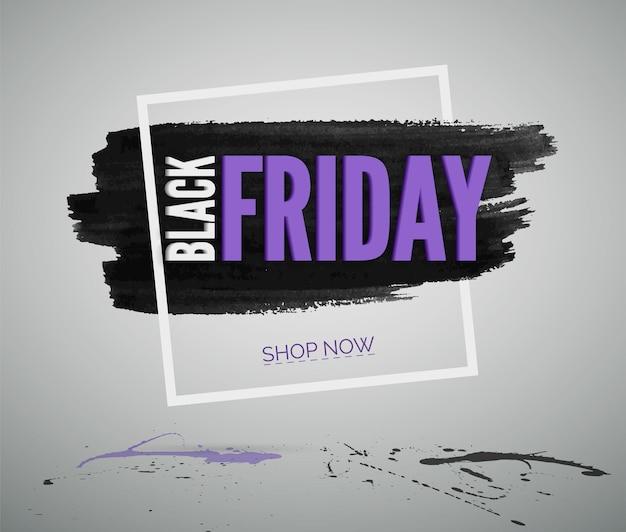 Modello realistico dell'insegna di web di vettore di vendita di black friday. tipografia di pubblicità di sconto commerciale nel telaio. negozio offerte speciali promozione creativa. testo sulla trama della macchia di inchiostro nero