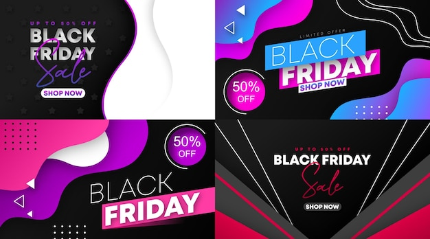 Illustrazione vettoriale di banner e flyer web vendita venerdì nero