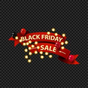 Vendita del black friday, banner web sotto forma di nastro rosso 3d avvolto con ghirlanda e decorato con palloncini