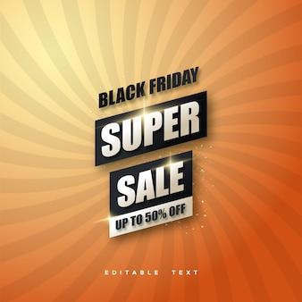 Vendita venerdì nero con disegno nero su sfondo arancione.