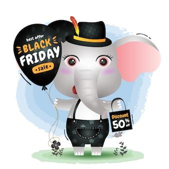 Vendita del black friday con una simpatica promozione del palloncino della tenuta dell'elefante e illustrazione del sacchetto della spesa
