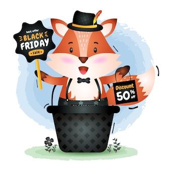 Vendita venerdì nero con una volpe carina nella promozione del bordo della stretta del cestino e illustrazione del sacchetto della spesa