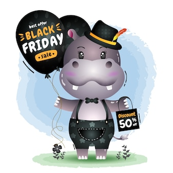Vendita venerdì nero con un simpatico ippopotamo tenere palloncino promozione e illustrazione del sacchetto della spesa