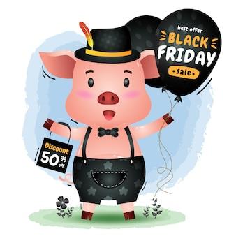 Vendita del black friday con una simpatica promozione del palloncino della tenuta del maiale e illustrazione del sacchetto della spesa