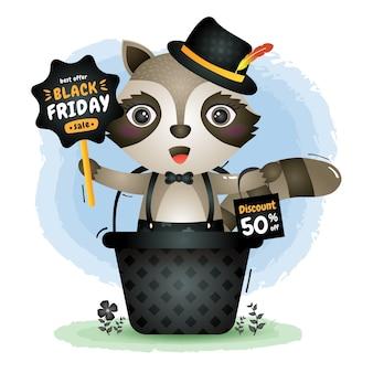 Vendita venerdì nero con un simpatico procione nella promozione del bordo della stretta del cestino e illustrazione del sacchetto della spesa
