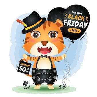 Vendita del black friday con una simpatica promozione del pallone della tenuta della tigre e illustrazione del sacchetto della spesa