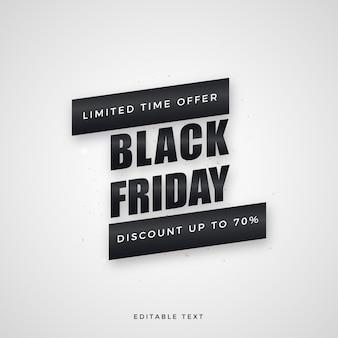 Saldi black friday, con elegante scritta nera.