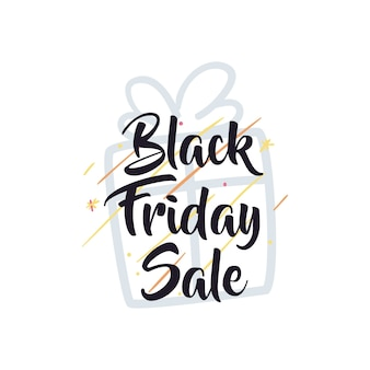 Vendita venerdì nero con disegno dell'icona di stile piatto regalo e stelle, offerta di salvataggio e tema dello shopping
