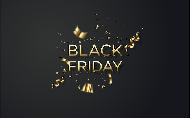 Vendita di black friday con l'illustrazione colorata oro.