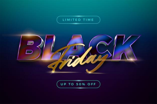 Vendita venerdì nero con moderna combinazione di colori vivaci testo per la promozione di banner
