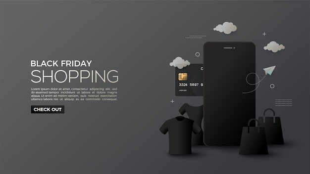 Saldi del black friday con sfumature di shopping online di notte