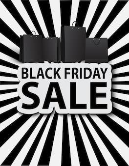 Vendita venerdì nero con borse della spesa. vendita di poster