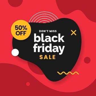 Vendita venerdì nero con semplice geometria fluida astratta per la progettazione di promozione poster modello di social media