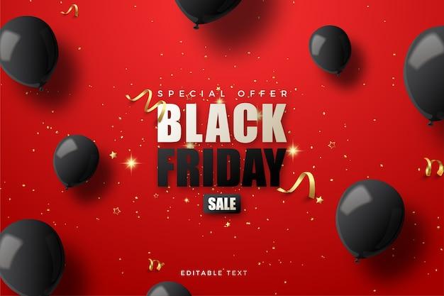 Vendita venerdì nero con con palloncini neri 3d su fondo rosso.