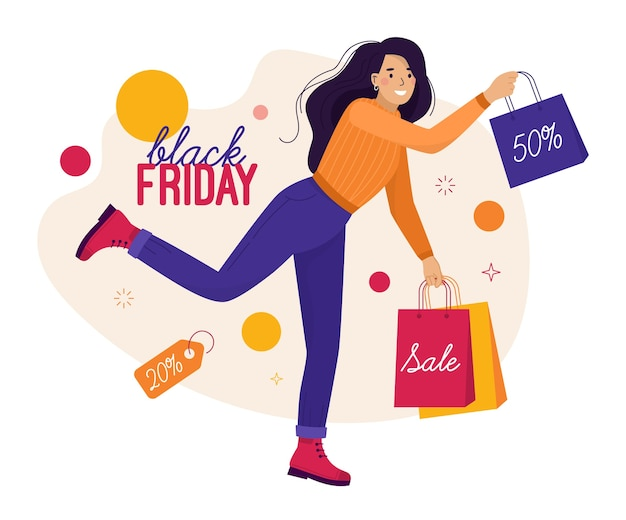 Black friday e saldi. donna felice nello shopping corre e salta con le borse
