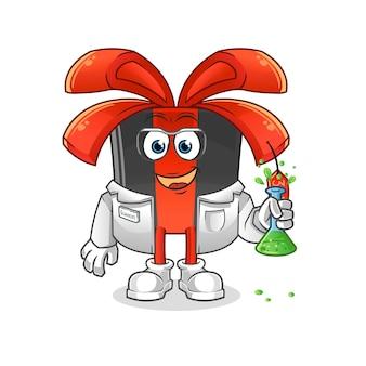 Carattere dello scienziato del black friday. mascotte dei cartoni animati