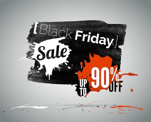 Illustrazione vettoriale di vendita stagionale del black friday con tipografia. pubblicità a basso prezzo. promozione di offerte speciali di acquisto. annuncio di sconto fino al 90 percento
